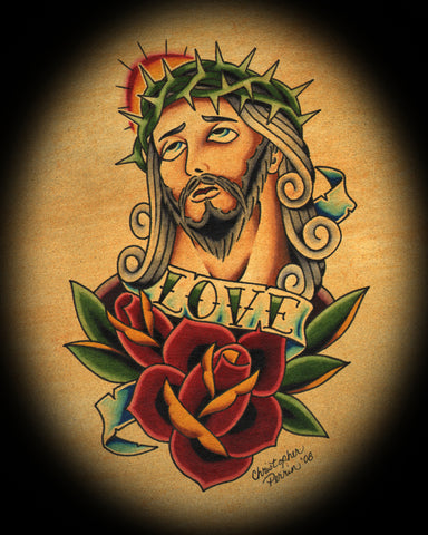 jesus crown of thorns by christopher perrin religious tattoo art canvas print religion  Christian  Christ  design  artist