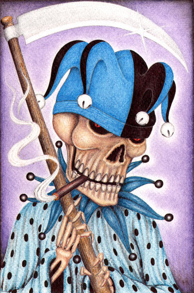 joker by carlos fox lopez killer cigarette smoking skeleton with axe canvas art giclee print skeleton-skull  creepy-joker-clown-skeleton  killer-clown  grim-reaper-skeleton  cigarette