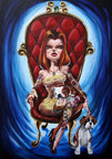 kanina by gabi spree sexy tattooed woman with puppy dogs canvas art giclee print dogs  puppy  sexy  tattooed  gothic