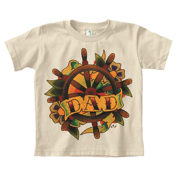 little kids' dad tattoo heart banner unisex sz 4 5 6 organic cotton t-shirt top uni-sex boys children girls toddler