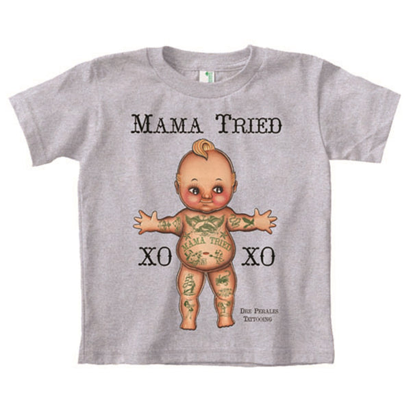 little kids' mama tried kewpie baby unisex 4 5 6 tattoo organic cotton t-shirt alternative unisex boys cupie-doll girls