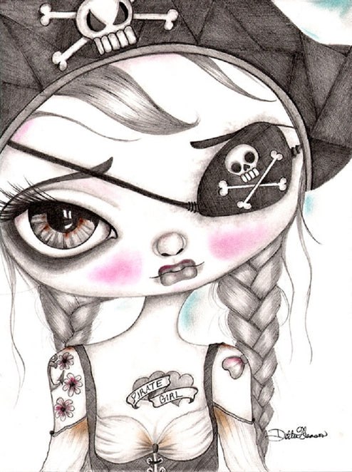 Keira the Pirate Girl by Dottie Gleason Rolled Canvas Art Giclee Print