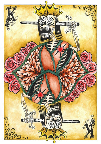 king by gabe londis sugar skull poker playing card tattoo canvas fine art print artwork  teens  goth nerd  giclee