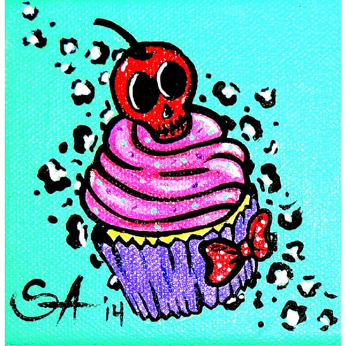 CherrySkull Cupcake by Skinderella Rolled Canvas Art Giclee Print