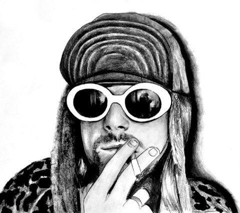 kurt by manuela lai nirvana cobain grunge rock music tattoo canvas art print rock-star celebrity drawing artwork black-and-white