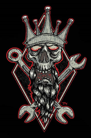 kustom king by dwight francis car kulture garage wrench tattoo canvas art print tools rockabilly hot-rod mechanic skull-and-crossbones