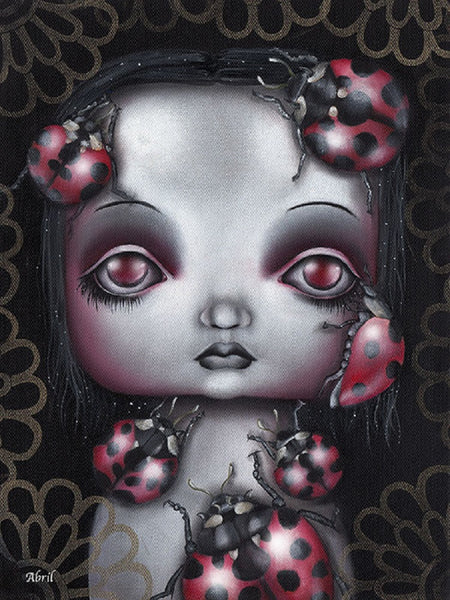 ladybug girl by abril andrade griffith big eye girl artwork canvas art print emo  sad-child  goth-child  cute-goth-girl  fine-art-print