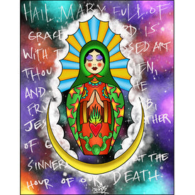 babushka traditional catholic mother nesting doll tattoo sacred heart flaming colorful bright best work canvas prints wall ar
