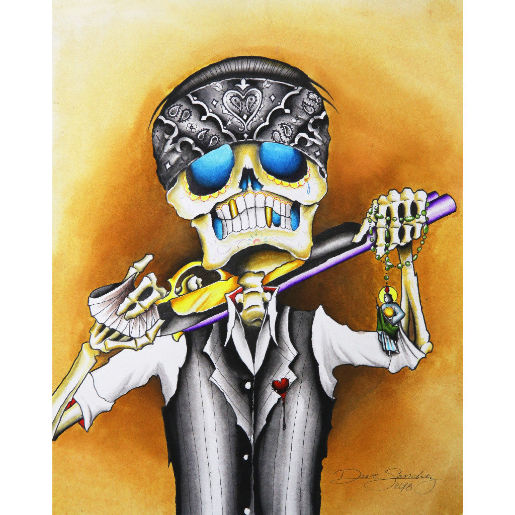 dia de los muertos mexican latino skeleton wall art painting traditional tattoo flash designs color artwork artist black wood