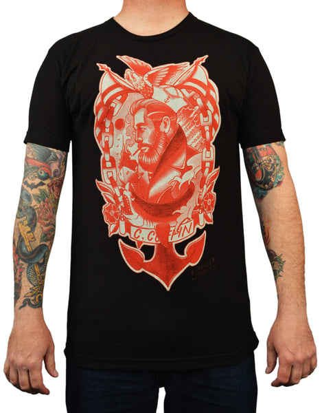 men's anchors away by charlie coffin sailor nautical red tattoo design t-shirt marines old-school navy rockabilly tops