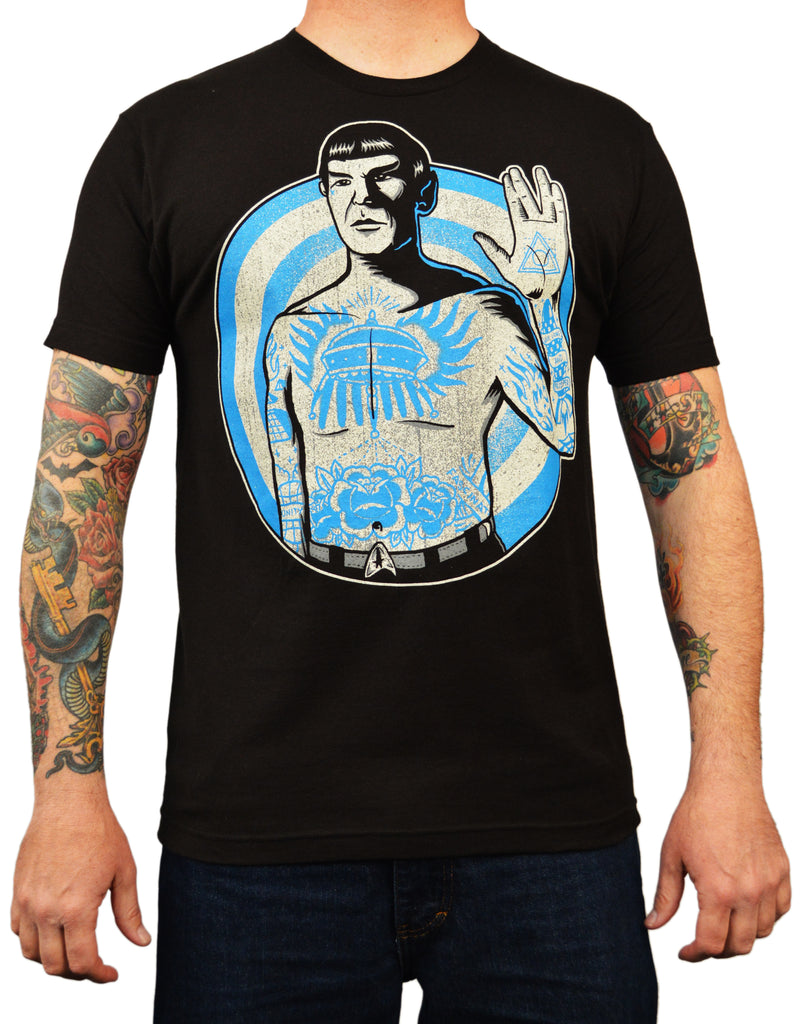 men's live long by adi star trek tattooed spock vulcan salute tattoo art t-shirt celebrities movie artwork tattoo-art leonard-nimoy