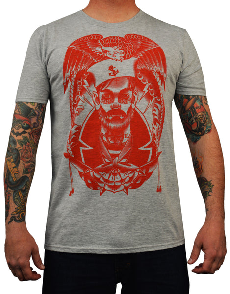 men's sink or swim by charlie coffin tattooed sailor red nautical tattoo t-shirt marines traditional new  eagle rockabilly