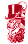 legacy by charlie coffin steampunk man wearing top hat red canvas fine art print straight-edge  razor  barber-shop  dagger  mystic