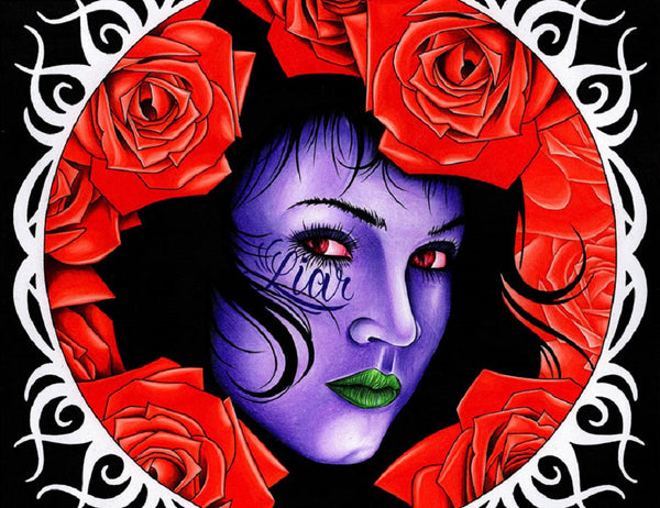 liar by jeff saunders goth zombie woman & roses tattoo artwork canvas art print gothic  monster posters design undead