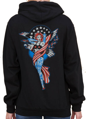 Women's Liberty by Adi Pin Up Girl Americana Tattoo Art Black Hoodie