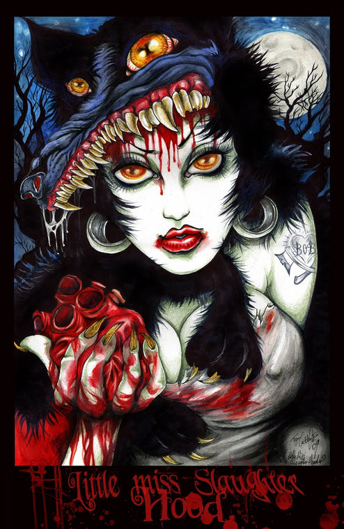 artwork horror gore halloween fairytale painting traditional tattoo flash designs color artwork artist black wood home decor