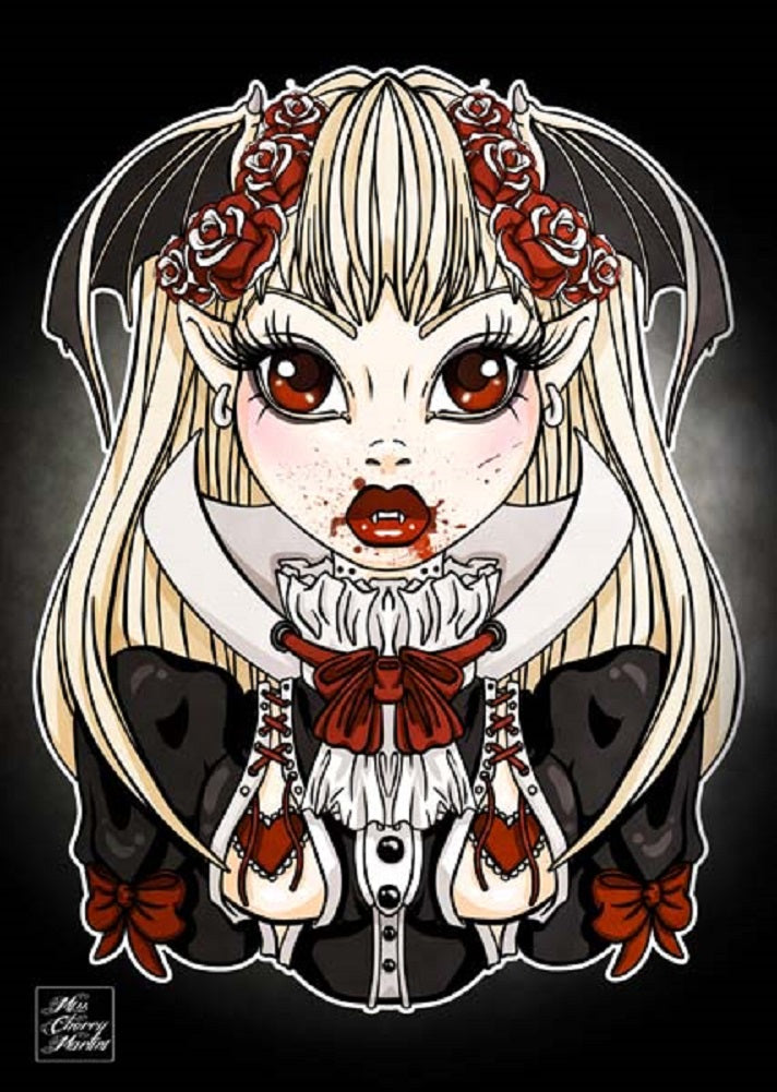 goth tattooed woman tattooed roses fangs emo alternative artwork painting traditional tattoo flash designs color artwork arti