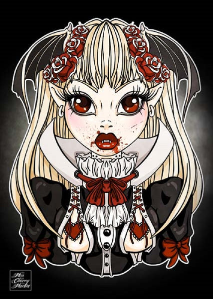 my little vampire by miss cherry martini rockabilly gothic girl canvas art print tattooed-woman  tattooed-roses  fangs  emo  alternative-artwork
