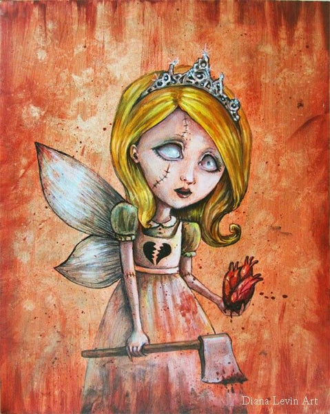 love hurts by diana levin goth fairy girl with bloody axe canvas fine art print tiara  horror  creepy-children  broken-Heart  anatomical-Heart