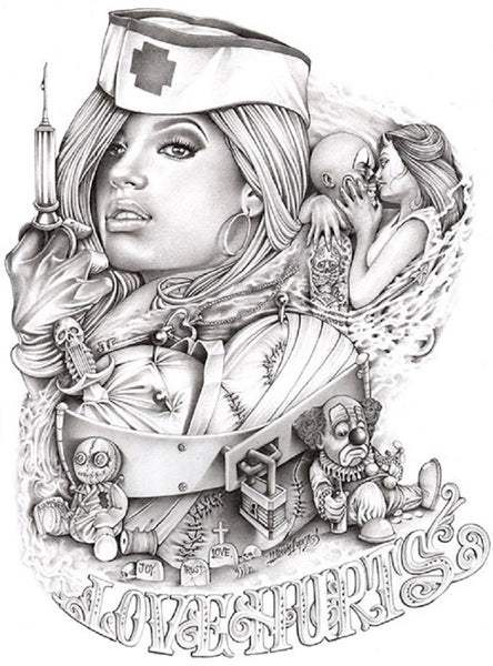 Love Hurts by Mouse Lopez Sexy Nurse Tattoo Canvas Giclee Art Print