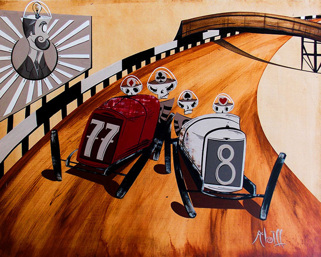 The Four Suits by Mcbiff Hot Rod Board Track Racers Tattoo Canvas Art Print street-racing street-racers board-track-racing skeletons skulls