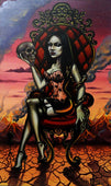 madame by gabi spree sexy goth undead woman w/ skull & snake canvas art print dark artwork gothic  tattoo paintings