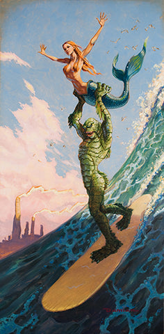 Made In Heaven by Damian Fulton Surf Monster Mermaid Canvas Art Print