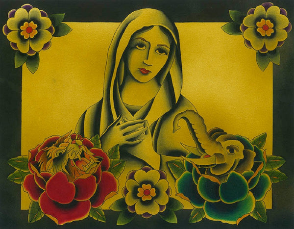 madonna by chris bowman tattoo artwork w tiger & elephant canvas fine art print catholic  religious.Mary virgin original