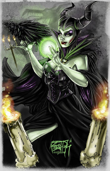 maleficent by kris chisholm sleeping beauty villain artwork canvas art print movie disney anti-disney character painting