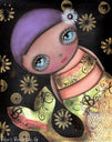 maria 2 abril andrade griffith surreal pop-art big eye mermaid canvas art print mermaid  bella  fantasy  belle  artwork