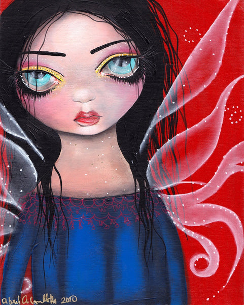 maria 1 by abril andrade griffith big eye goth fairy girl canvas fine art print fairy  girl  goth-girl  EMO-art  wings