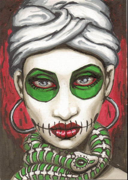 marie by shayne of the dead bohner canvas or paper rolled art print tattoo artwork design Mexican sugar-skull
