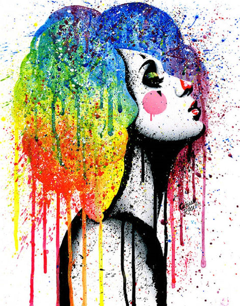 masked 2 by carissa rose electric rainbow portrait of woman canvas art print punk  paint splatter artwork girl