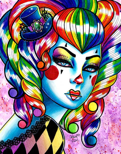 Masked 3 by Carissa Rose Rainbow Harlequin Woman Canvas Fine Art Print