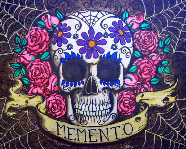 memento flowers by shayne of the dead bohner pretty sugar skull canvas giclee art print tattoo-roses  spider-webs  dia-de-los-muertos  skeleton  mexican