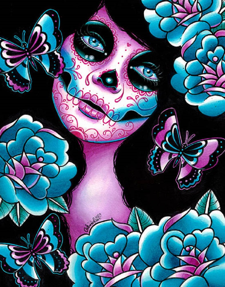 sugar skull dia de los muertos mask death artwork painting traditional tattoo flash designs color artwork artist black wood