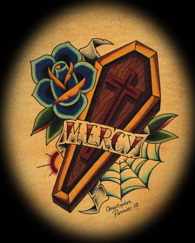 mercy banner and coffin by christopher perrin religious design canvas art print death blue-roses religion memorial funeral