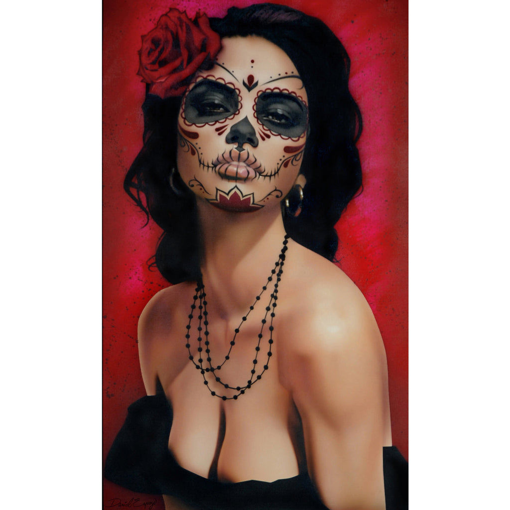 death mask sexy beautiful picture painting traditional tattoo salon designs artwork artist black wood home decor large altern