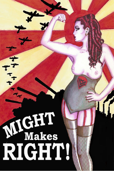 might makes right by shayne of the dead military nude framed wall art print military  army  nude  world-war-II  vintage-poster