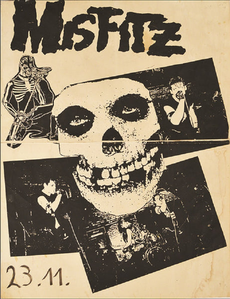 misfitz by annex punk rock music vintage concert band poster framed art print skull  classic  fiend  club  heavy-metal
