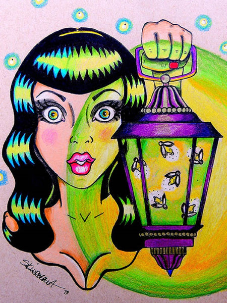 miss firefly by skinderella canvas or paper rolled art print bettie-page woman fireflies artwork giclee