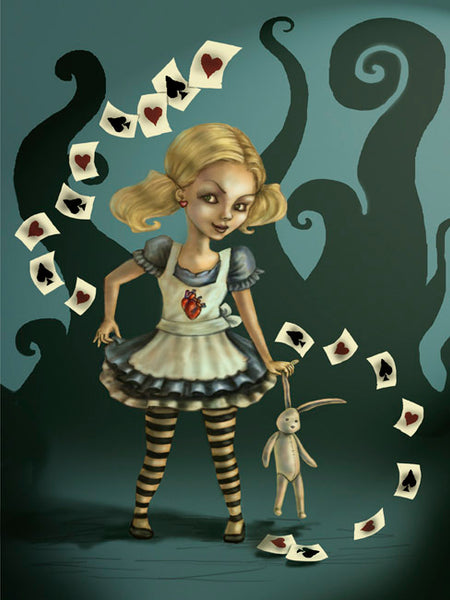 miss wonderland by diana levin evil alice w/playing cards canvas art print alice-in-wonderland  creepy  fan-art  disney  fantasy