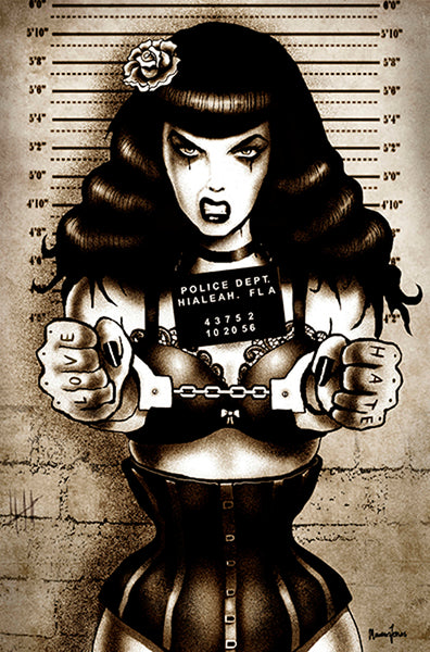 locked up bettie by marcus jones hot page mugshot pin-up girl canvas art print handcuffs bondage screaming-demons artwork rockabilly
