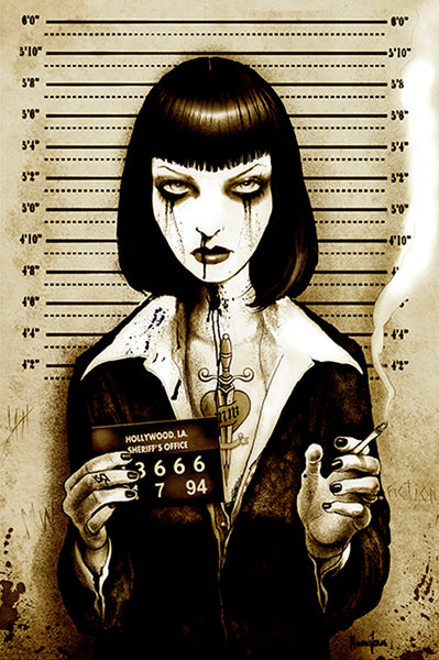 mrs wallace by marcus jones uma thurman mugshot pulp fiction canvas art print screaming-demons artwork pulp-fiction movie jail