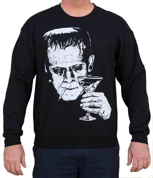 men's monster martini by mike bell drinking smoking frankenstein sweatshirt cigarette Frankenstein-artwork hoodie tattoo horror