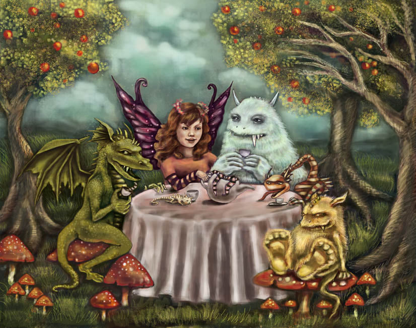 Monster Party by Diana Levin Rolled Canvas Art Giclee Print
