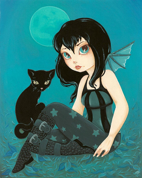 moonlight hijinks by terra bidlespacher canvas or paper rolled art print fairy haunted-forest enchanted-forest full-moon alternative-artwork