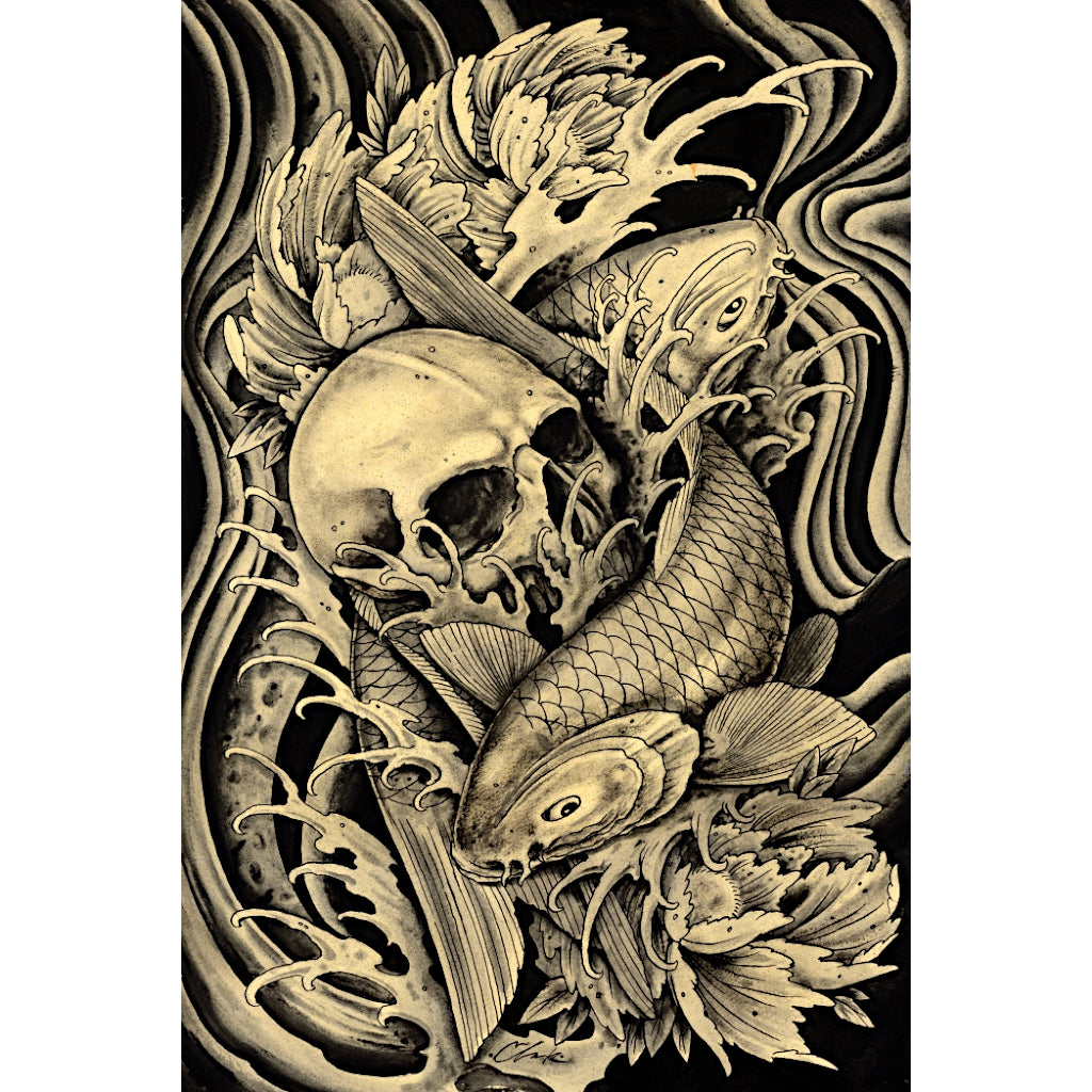 Mortality by Clark North Koi & Skull Tattoo Unframed Canvas Art Print