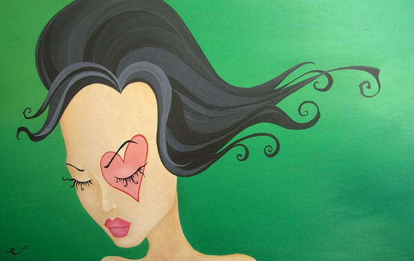moss by elaina soto modern girl with heart unusual company lowbrow artwork canvas giclee fine art print green green-painting emo-girl wall-art artists pop-art