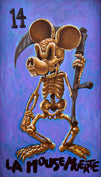 mouse muerte by joey rotten mickey skeleton tattoo framed wall decor art print mickey-mouse playing-card grim-reaper fan-art gothic